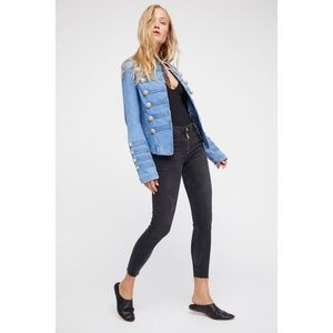 NWT Free People Fitted Military Denim Jacket S